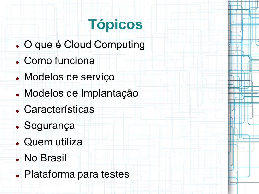Tópicos O que é Cloud Computing Como funciona Modelos de serviço Modelos de Implantação Características Segurança Quem utiliza No Brasil Plataforma para testes