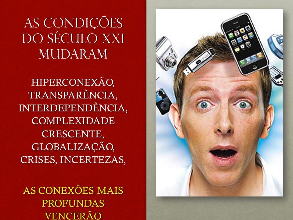 AS CONDIÇÕES DO SÉCULO XXI MUDARAM HIPERCONEXÃO, TRANSPARÊNCIA, INTERDEPENDÊNCIA, COMPLEXIDADE CRESCENTE, GLOBALIZAÇÃO, CRISES, INCERTEZAS, AS CONEXÕES MAIS PROFUNDAS VENCERÃO HIPERCONEXÃO, TRANSPARÊNCIA, INTERDEPENDÊNCIA, COMPLEXIDADE CRESCENTE, GLOBALIZAÇÃO, CRISES, INCERTEZAS, AS CONEXÕES MAIS PROFUNDAS VENCERÃO