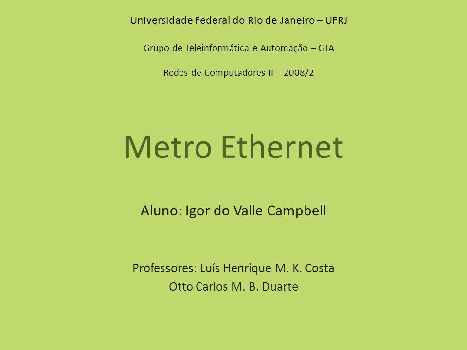 Metro Ethernet Aluno: Igor do Valle Campbell Professores: Luís Henrique M. K. Costa Otto Carlos M. B. Duarte Universidade Federal do Rio de Janeiro –