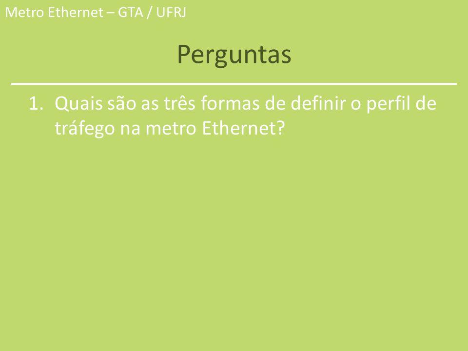 Metro Ethernet – GTA / UFRJ Perguntas 1.Quais são as três formas de definir o perfil de tráfego na metro Ethernet?