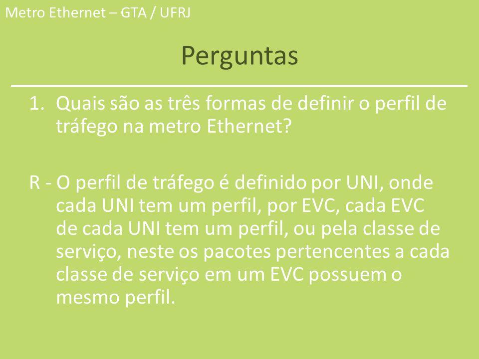 Metro Ethernet – GTA / UFRJ Perguntas 1.Quais são as três formas de definir o perfil de tráfego na metro Ethernet? R - O perfil de tráfego é definido
