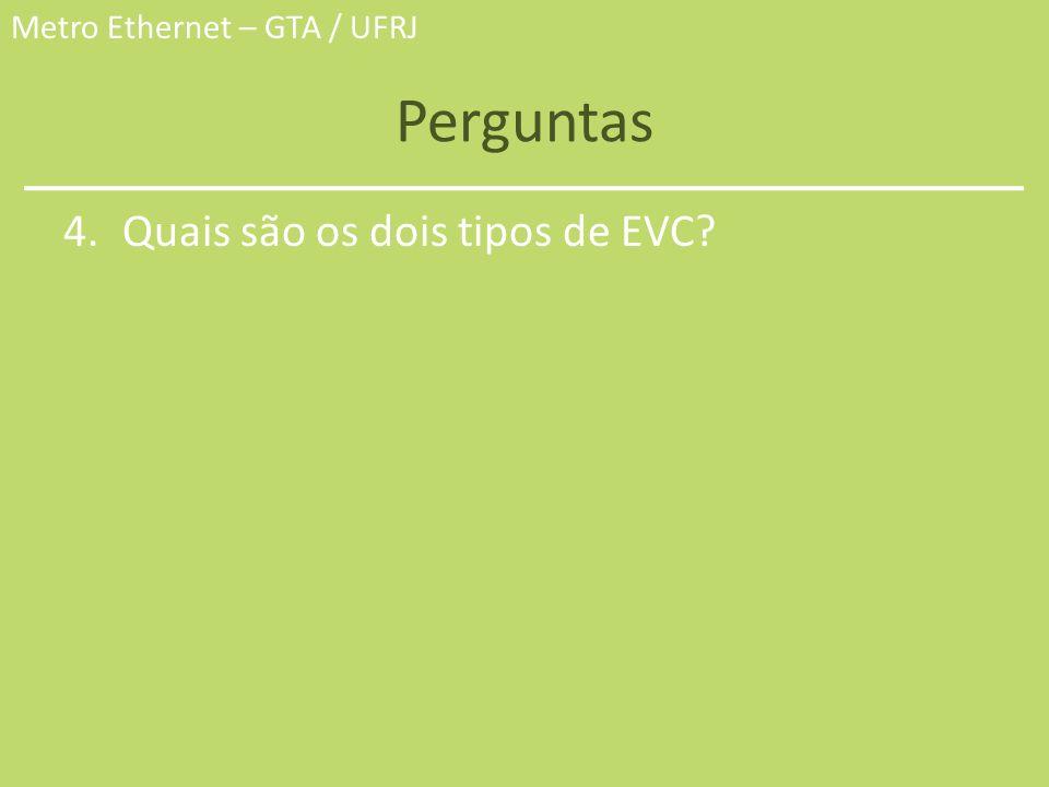 Metro Ethernet – GTA / UFRJ Perguntas 4.Quais são os dois tipos de EVC?