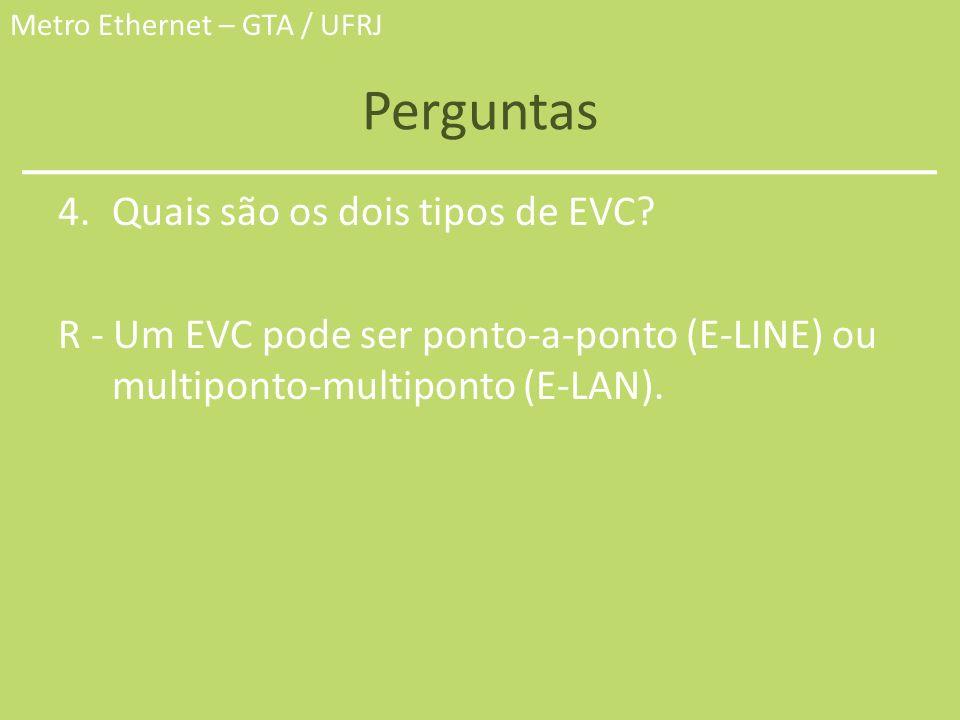 Metro Ethernet – GTA / UFRJ Perguntas 4.Quais são os dois tipos de EVC? R - Um EVC pode ser ponto-a-ponto (E-LINE) ou multiponto-multiponto (E-LAN).