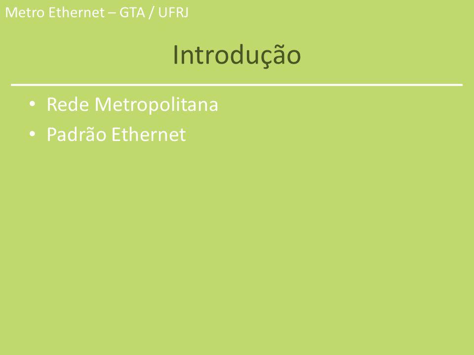 Metro Ethernet – GTA / UFRJ Introdução Rede Metropolitana – Cobre uma área de 5 a 50 Km de diâmetro, equivalente a uma cidade ou uma região inteira.