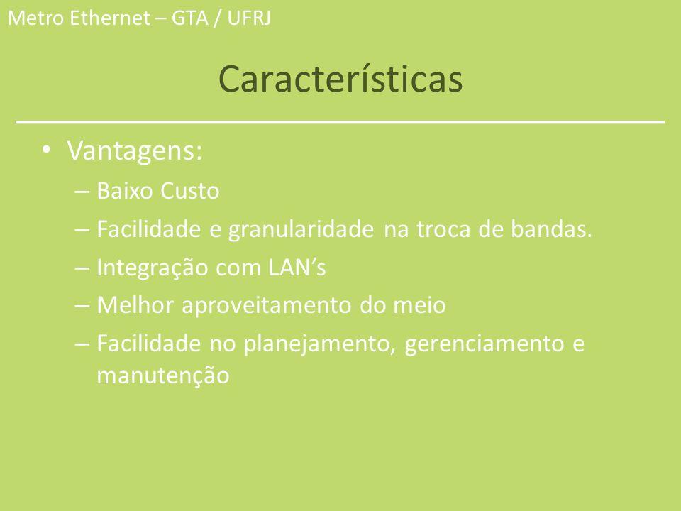 Metro Ethernet – GTA / UFRJ Características Vantagens: – Baixo Custo – Facilidade e granularidade na troca de bandas. – Integração com LANs – Melhor a