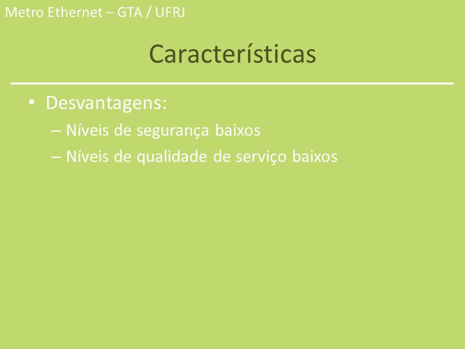 Metro Ethernet – GTA / UFRJ Características Desvantagens: – Níveis de segurança baixos – Níveis de qualidade de serviço baixos