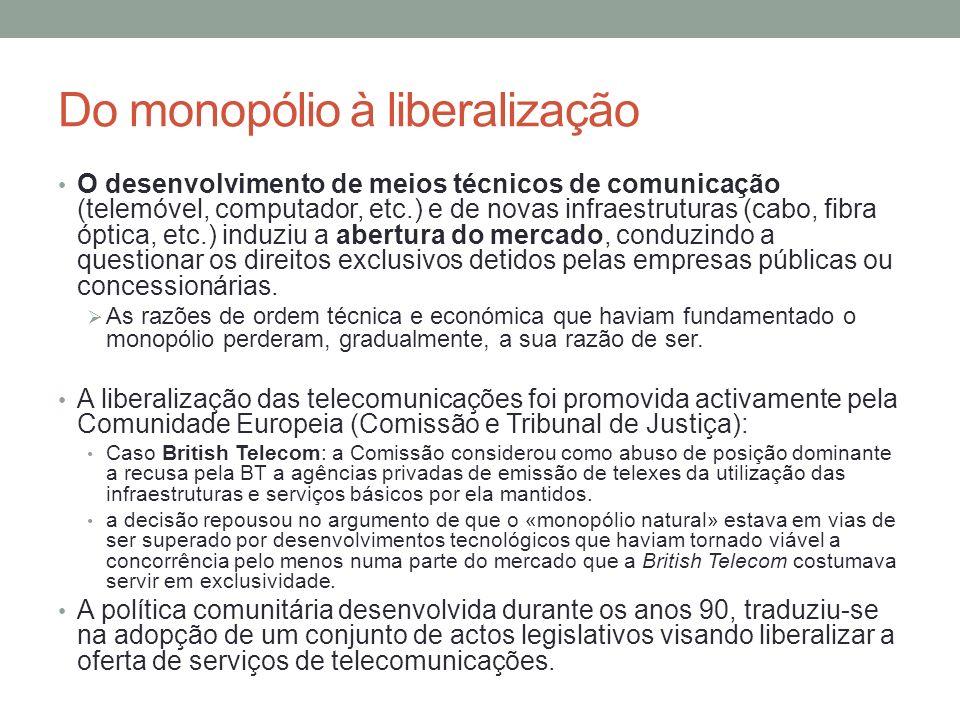 Do monopólio à liberalização O desenvolvimento de meios técnicos de comunicação (telemóvel, computador, etc.) e de novas infraestruturas (cabo, fibra