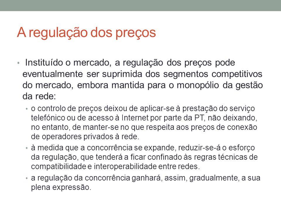 A regulação dos preços Instituído o mercado, a regulação dos preços pode eventualmente ser suprimida dos segmentos competitivos do mercado, embora man