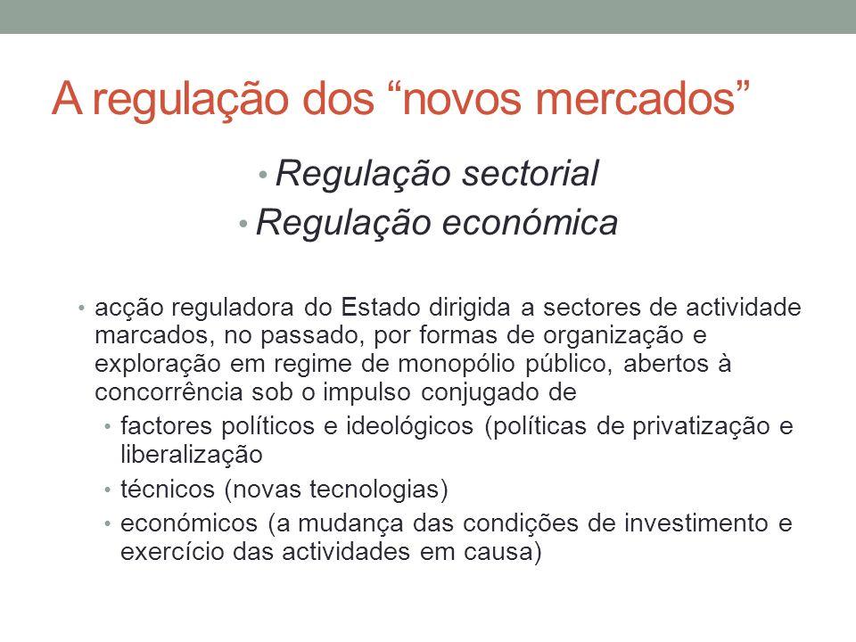 A regulação dos novos mercados Regulação sectorial Regulação económica acção reguladora do Estado dirigida a sectores de actividade marcados, no passa