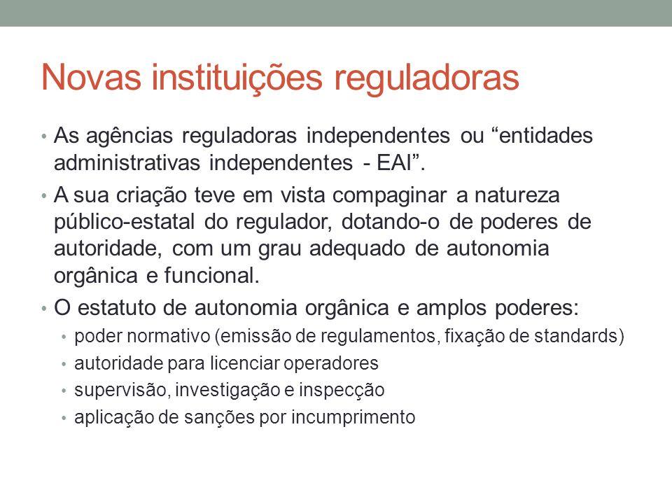 Novas instituições reguladoras As agências reguladoras independentes ou entidades administrativas independentes - EAI. A sua criação teve em vista com