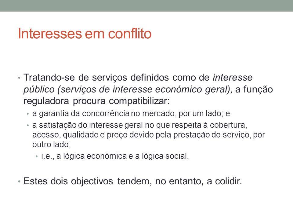Interesses em conflito Tratando-se de serviços definidos como de interesse público (serviços de interesse económico geral), a função reguladora procur