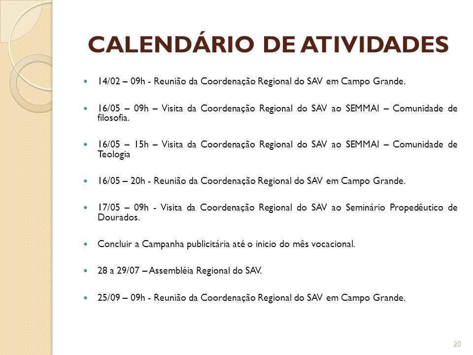 CALENDÁRIO DE ATIVIDADES 14/02 – 09h - Reunião da Coordenação Regional do SAV em Campo Grande. 16/05 – 09h – Visita da Coordenação Regional do SAV ao