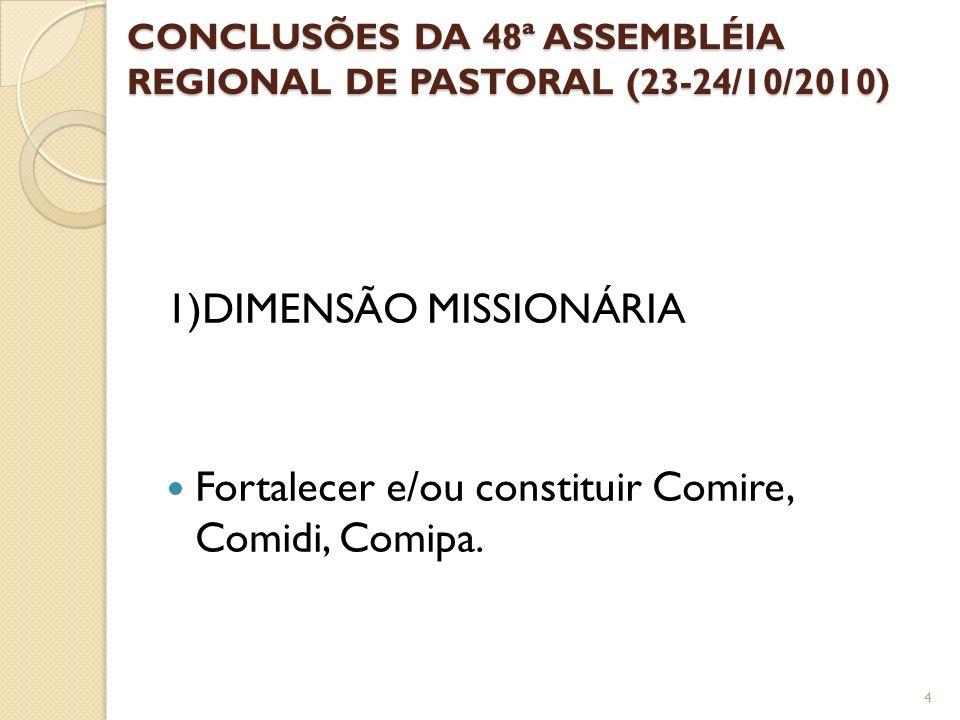 CONCLUSÕES DA 48ª ASSEMBLÉIA REGIONAL DE PASTORAL (23-24/10/2010) 1)DIMENSÃO MISSIONÁRIA Fortalecer e/ou constituir Comire, Comidi, Comipa. 4