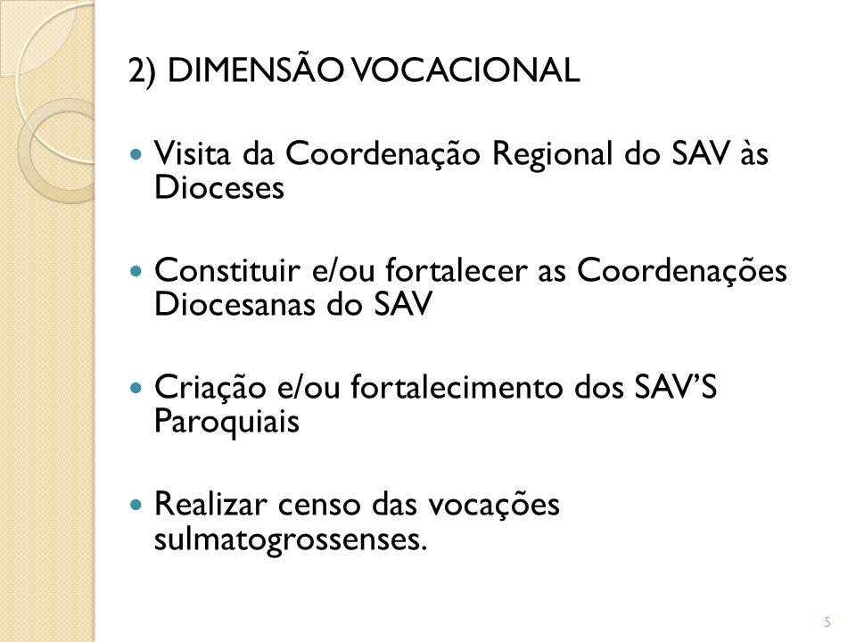 2) DIMENSÃO VOCACIONAL Visita da Coordenação Regional do SAV às Dioceses Constituir e/ou fortalecer as Coordenações Diocesanas do SAV Criação e/ou for