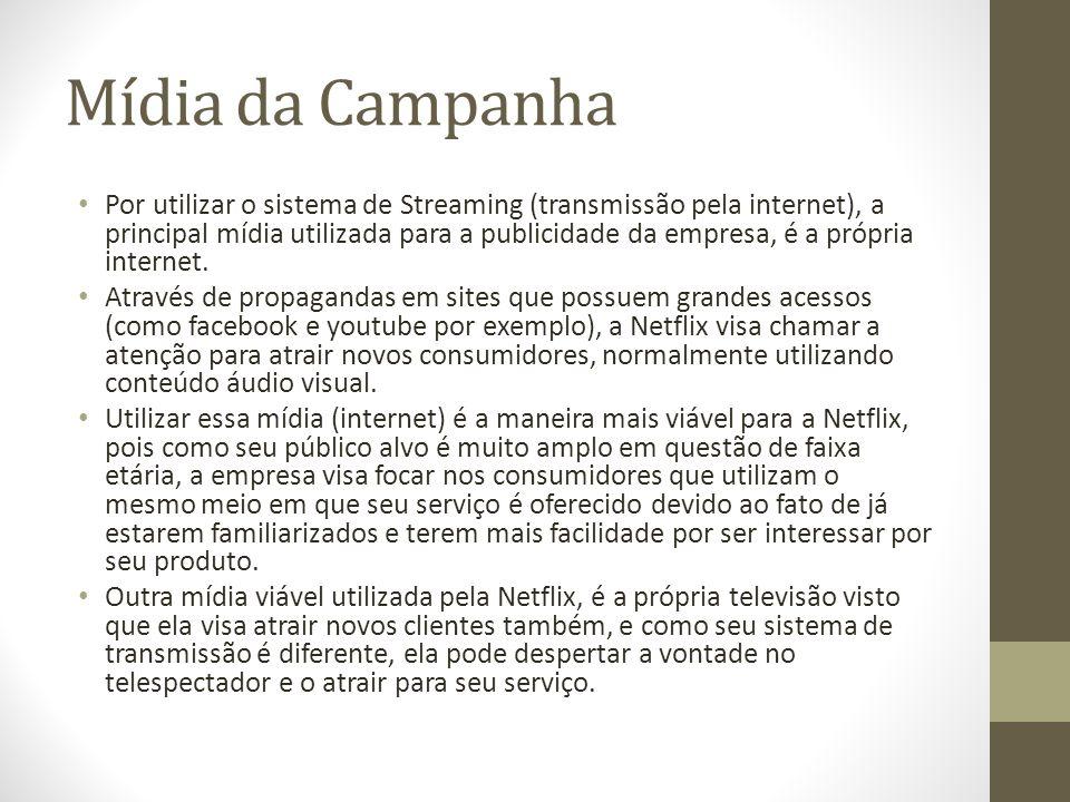 Mídia da Campanha Por utilizar o sistema de Streaming (transmissão pela internet), a principal mídia utilizada para a publicidade da empresa, é a próp