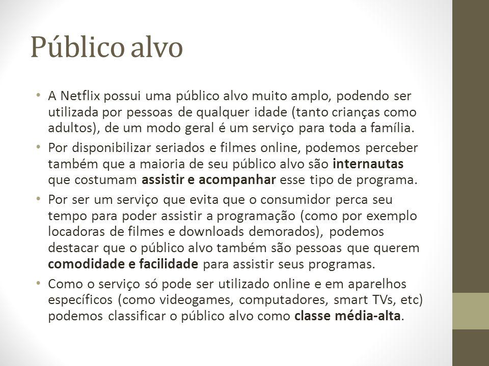 Público alvo A Netflix possui uma público alvo muito amplo, podendo ser utilizada por pessoas de qualquer idade (tanto crianças como adultos), de um m
