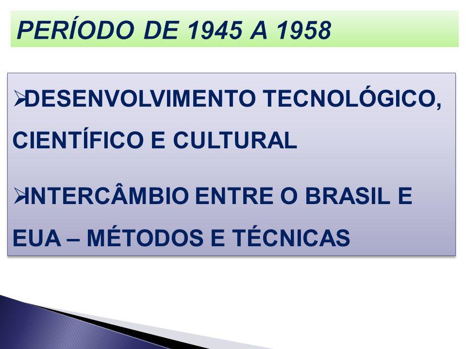 DESENVOLVIMENTO TECNOLÓGICO, CIENTÍFICO E CULTURAL INTERCÂMBIO ENTRE O BRASIL E EUA – MÉTODOS E TÉCNICAS DESENVOLVIMENTO TECNOLÓGICO, CIENTÍFICO E CUL