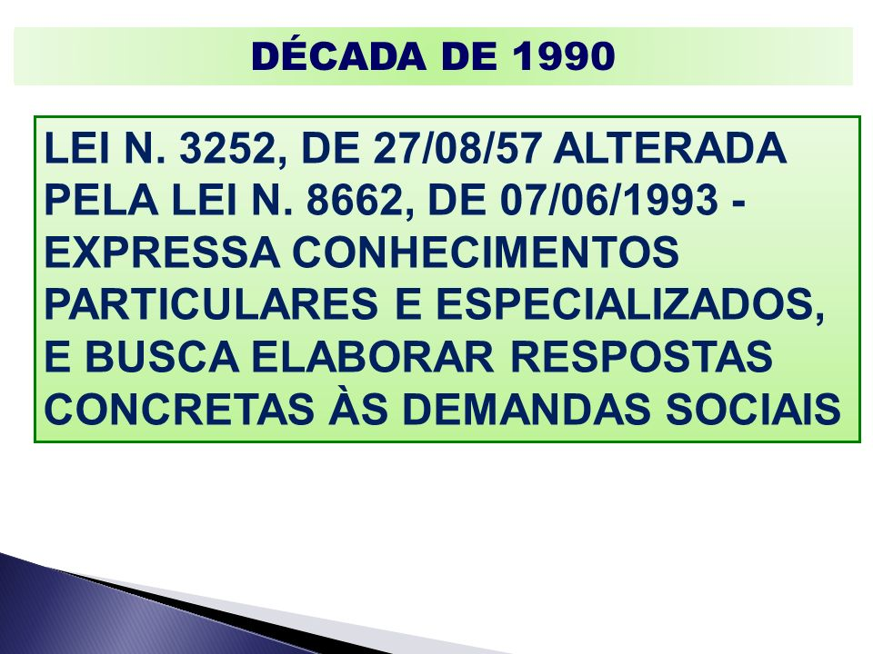DÉCADA DE 1990 LEI N. 3252, DE 27/08/57 ALTERADA PELA LEI N. 8662, DE 07/06/1993 - EXPRESSA CONHECIMENTOS PARTICULARES E ESPECIALIZADOS, E BUSCA ELABO