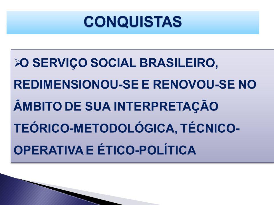 O SERVIÇO SOCIAL BRASILEIRO, REDIMENSIONOU-SE E RENOVOU-SE NO ÂMBITO DE SUA INTERPRETAÇÃO TEÓRICO-METODOLÓGICA, TÉCNICO- OPERATIVA E ÉTICO-POLÍTICA CO