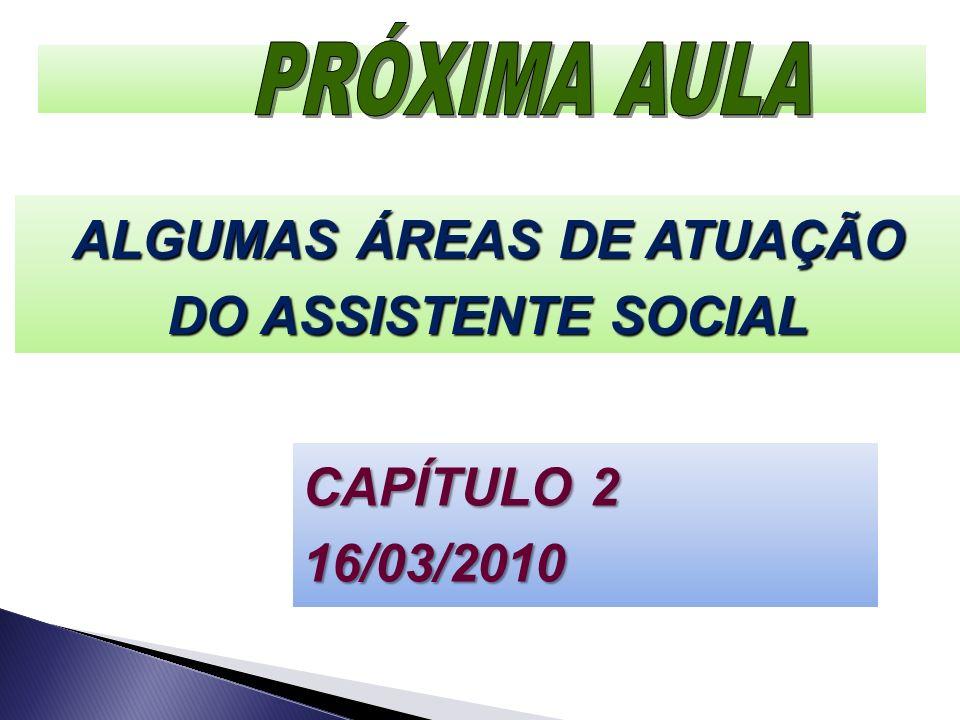 CAPÍTULO 2 16/03/2010 ALGUMAS ÁREAS DE ATUAÇÃO DO ASSISTENTE SOCIAL