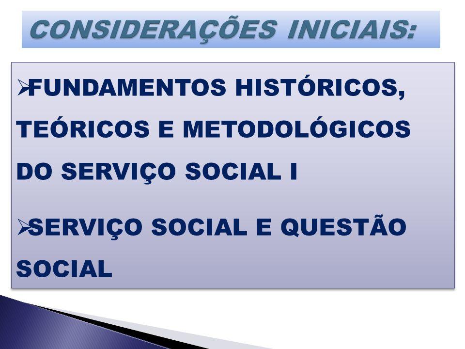 FUNDAMENTOS HISTÓRICOS, TEÓRICOS E METODOLÓGICOS DO SERVIÇO SOCIAL I SERVIÇO SOCIAL E QUESTÃO SOCIAL FUNDAMENTOS HISTÓRICOS, TEÓRICOS E METODOLÓGICOS