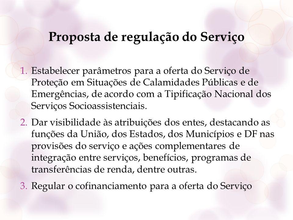 Proposta de regulação do Serviço 1.Estabelecer parâmetros para a oferta do Serviço de Proteção em Situações de Calamidades Públicas e de Emergências,