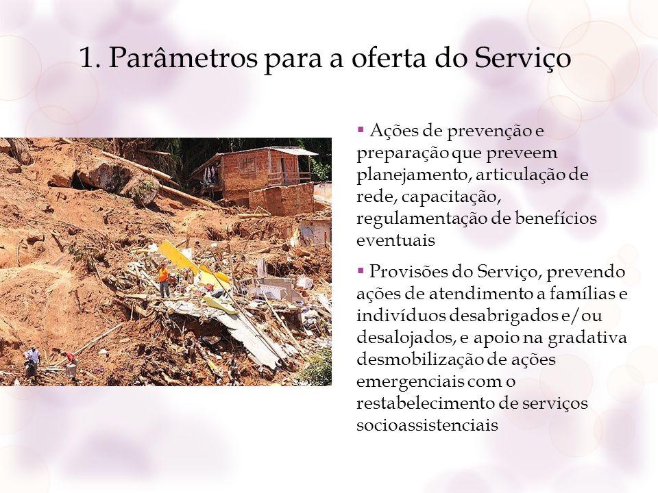 1. Parâmetros para a oferta do Serviço Ações de prevenção e preparação que preveem planejamento, articulação de rede, capacitação, regulamentação de b