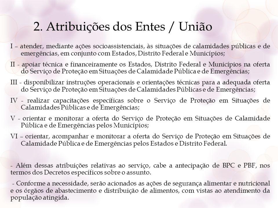 2. Atribuições dos Entes / União I – atender, mediante ações socioassistenciais, às situações de calamidades públicas e de emergências, em conjunto co