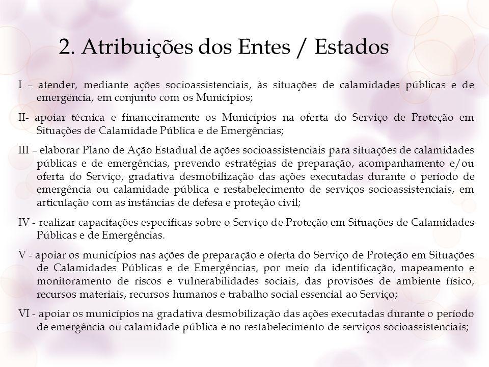 2. Atribuições dos Entes / Estados I – atender, mediante ações socioassistenciais, às situações de calamidades públicas e de emergência, em conjunto c