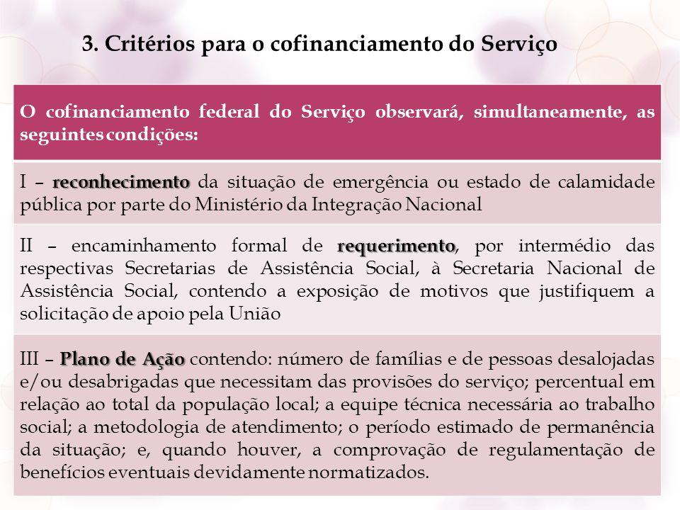 3. Critérios para o cofinanciamento do Serviço O cofinanciamento federal do Serviço observará, simultaneamente, as seguintes condições: reconhecimento