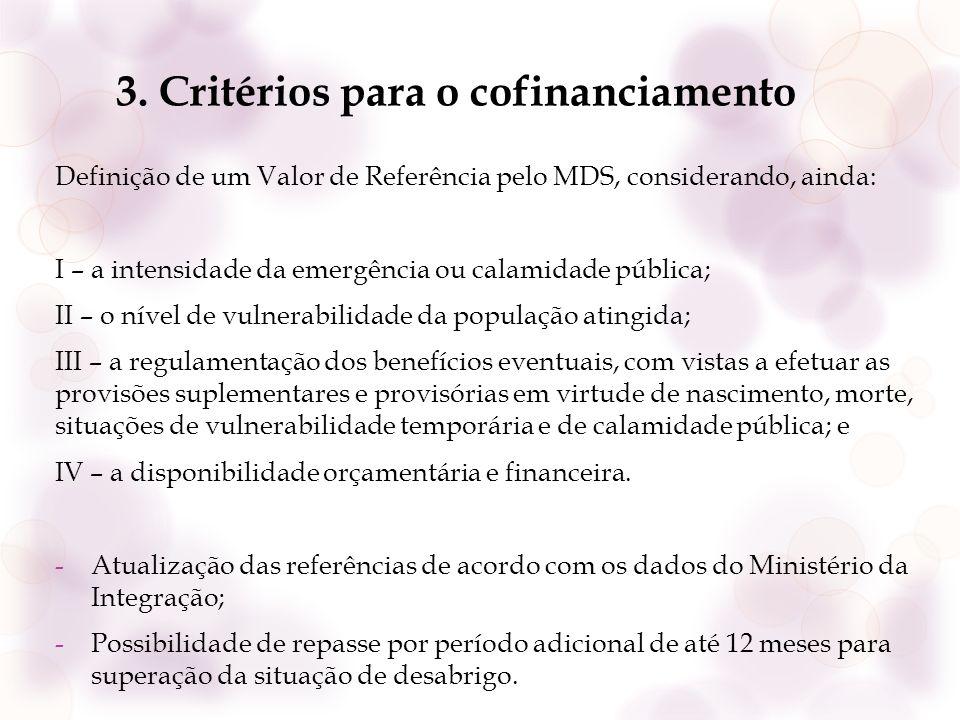 3. Critérios para o cofinanciamento Definição de um Valor de Referência pelo MDS, considerando, ainda: I – a intensidade da emergência ou calamidade p