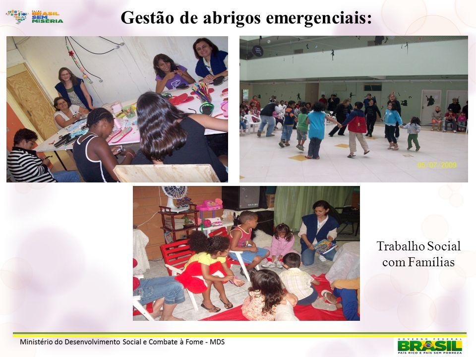 Gestão de abrigos emergenciais: Trabalho Social com Famílias