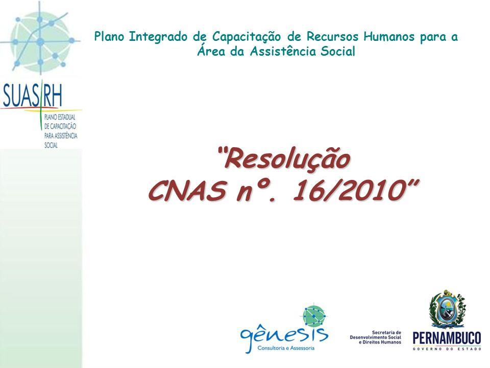 Resolução CNAS nº. 16/2010 Plano Integrado de Capacitação de Recursos Humanos para a Área da Assistência Social