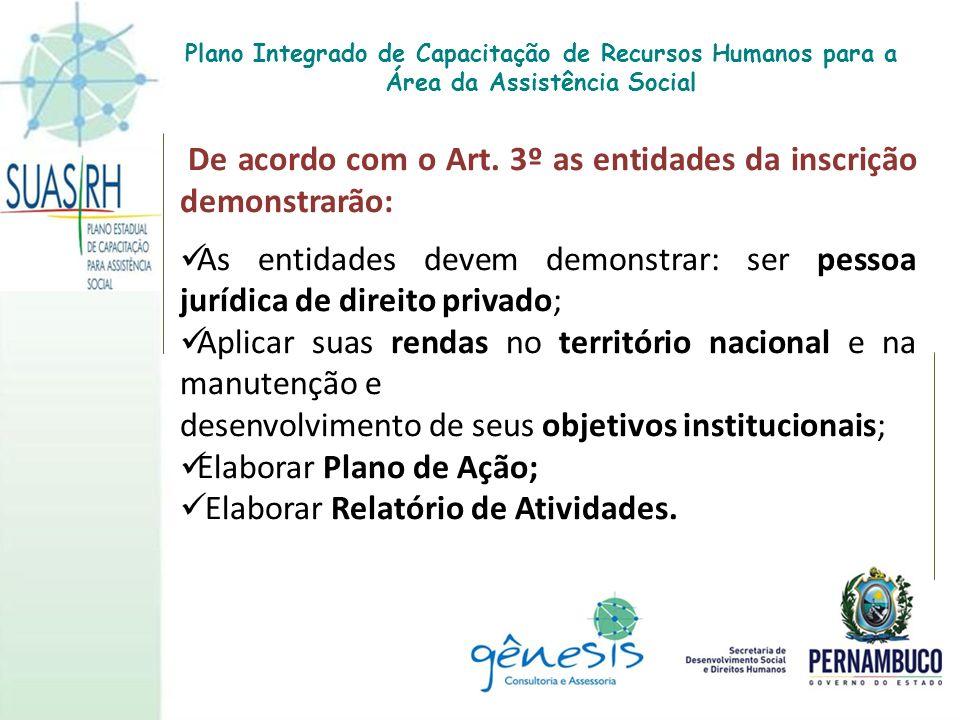 De acordo com o Art. 3º as entidades da inscrição demonstrarão: As entidades devem demonstrar: ser pessoa jurídica de direito privado; Aplicar suas re