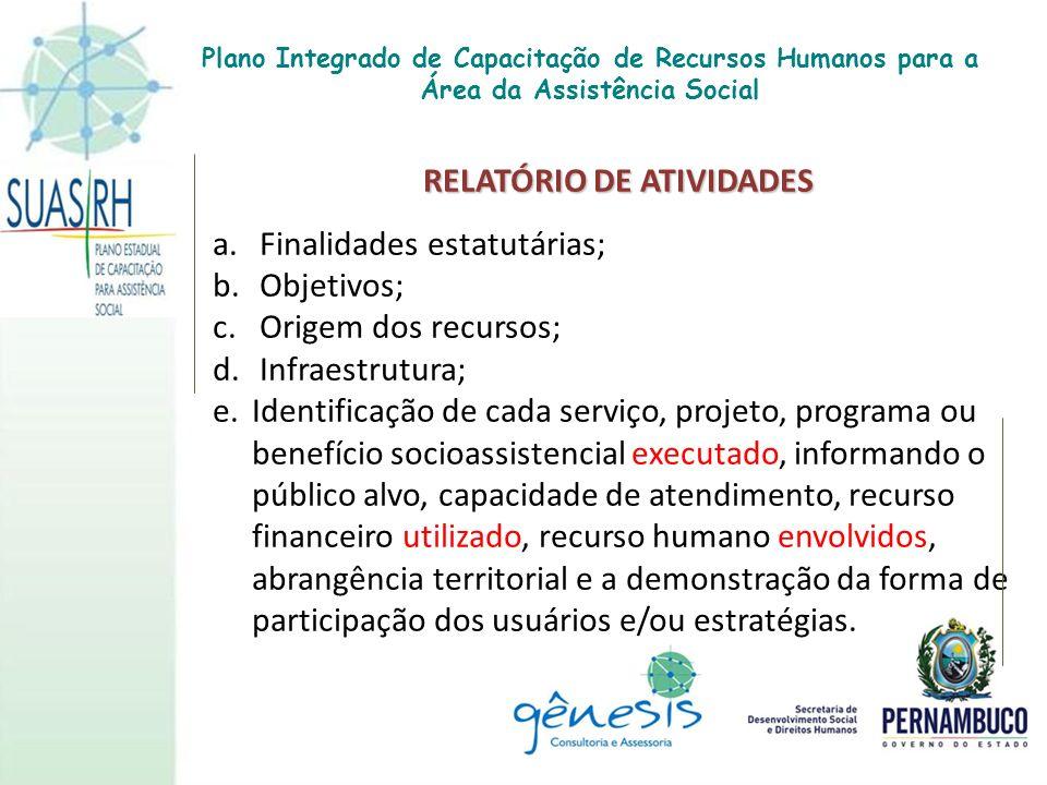 RELATÓRIO DE ATIVIDADES RELATÓRIO DE ATIVIDADES a. Finalidades estatutárias; b. Objetivos; c. Origem dos recursos; d. Infraestrutura; e.Identificação