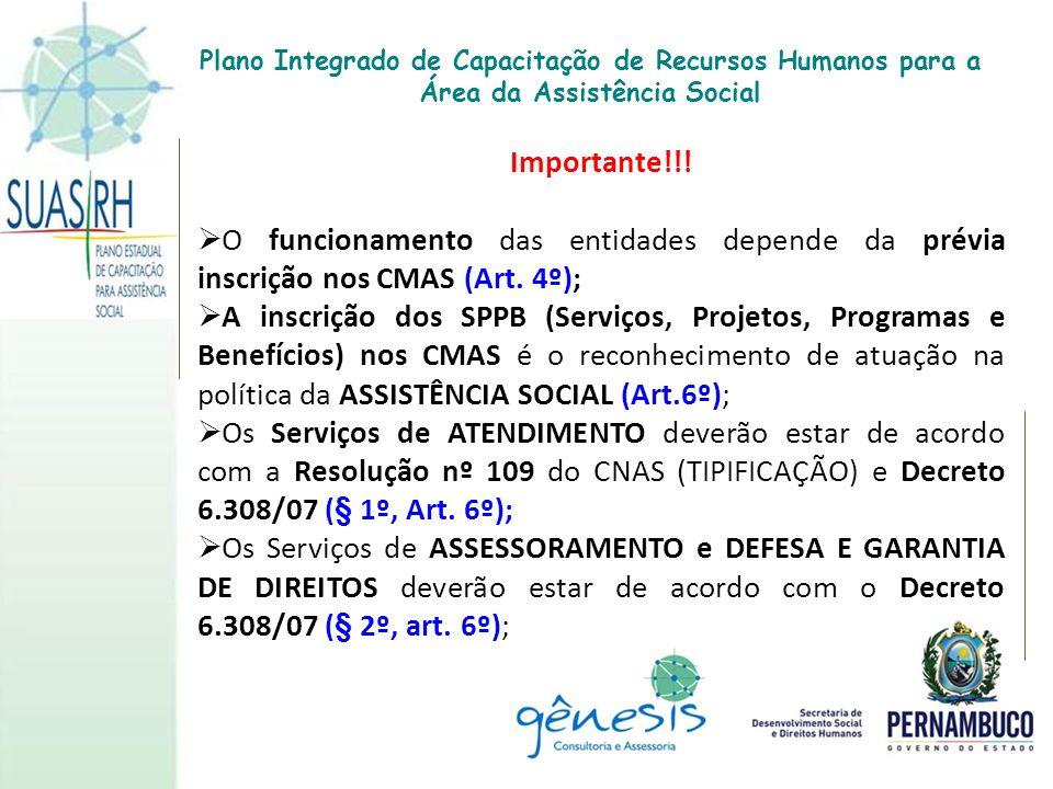 Importante!!! O funcionamento das entidades depende da prévia inscrição nos CMAS (Art. 4º); A inscrição dos SPPB (Serviços, Projetos, Programas e Bene