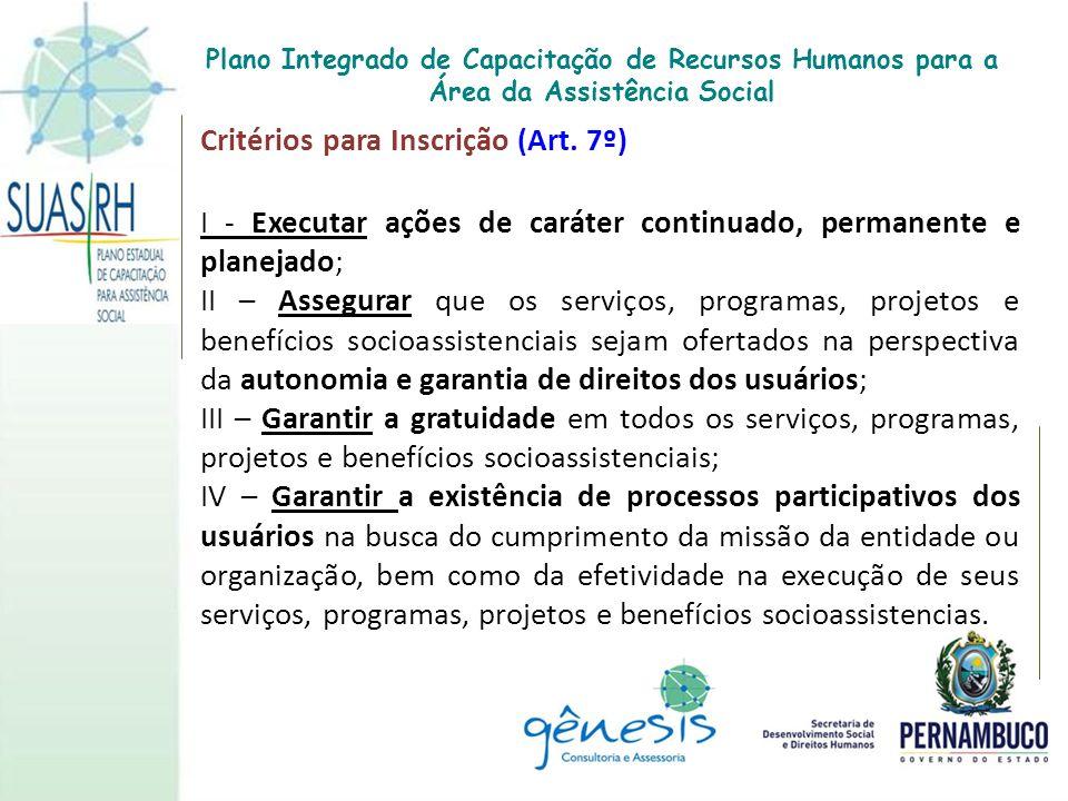 Critérios para Inscrição (Art. 7º) I - Executar ações de caráter continuado, permanente e planejado; II – Assegurar que os serviços, programas, projet