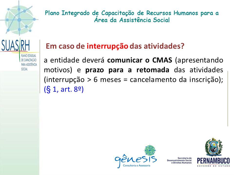 Em caso de interrupção das atividades? a entidade deverá comunicar o CMAS (apresentando motivos) e prazo para a retomada das atividades (interrupção >