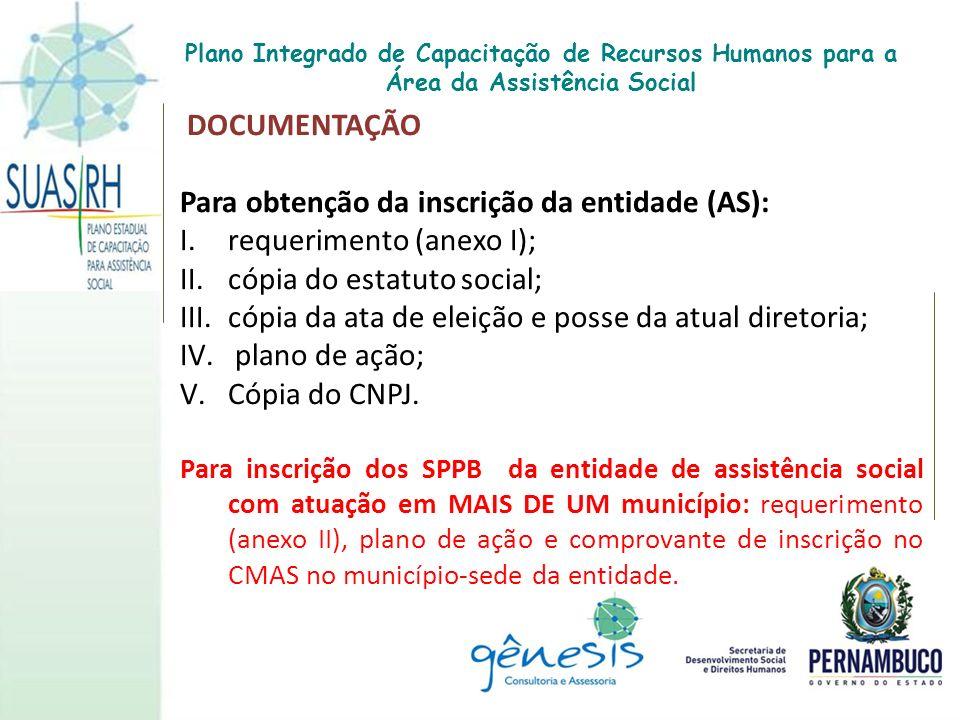 DOCUMENTAÇÃO Para obtenção da inscrição da entidade (AS): I.requerimento (anexo I); II.cópia do estatuto social; III.cópia da ata de eleição e posse d