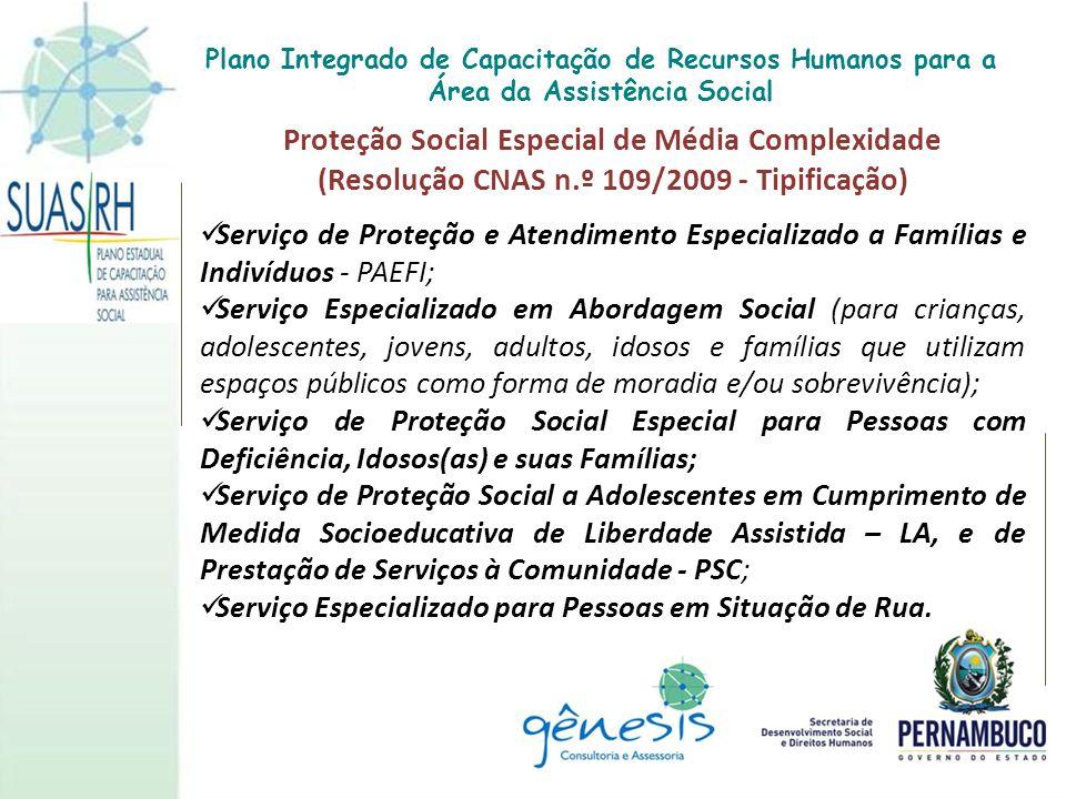 Proteção Social Especial de Média Complexidade (Resolução CNAS n.º 109/2009 - Tipificação) Serviço de Proteção e Atendimento Especializado a Famílias