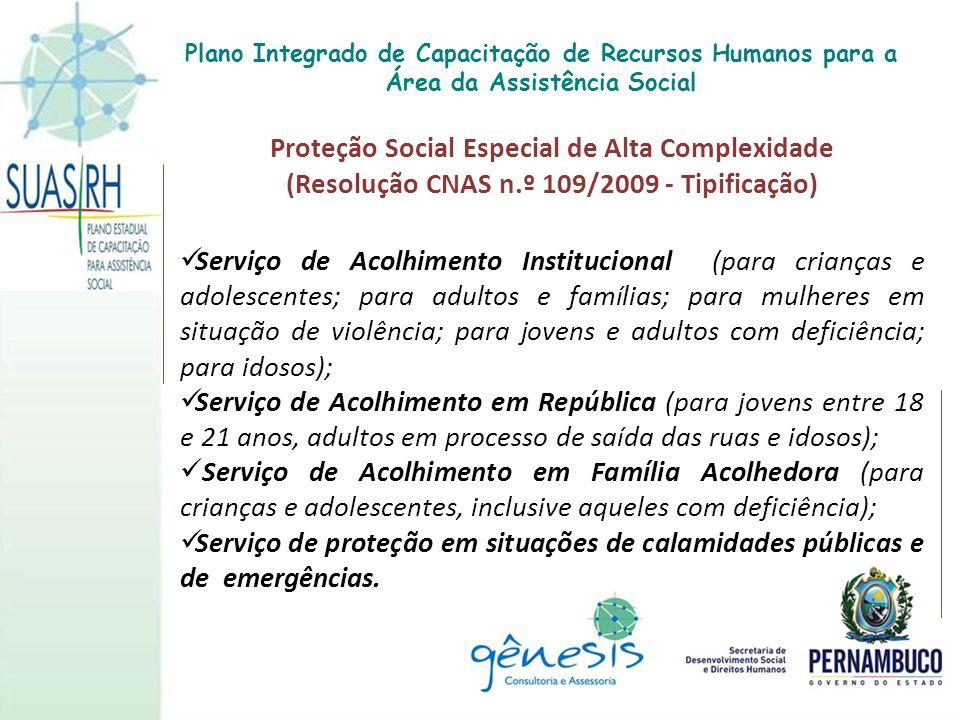 Proteção Social Especial de Alta Complexidade (Resolução CNAS n.º 109/2009 - Tipificação) Serviço de Acolhimento Institucional (para crianças e adoles