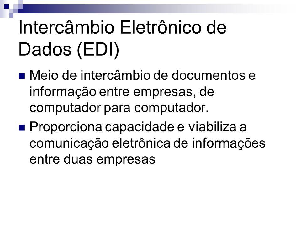 Intercâmbio Eletrônico de Dados (EDI) Meio de intercâmbio de documentos e informação entre empresas, de computador para computador. Proporciona capaci