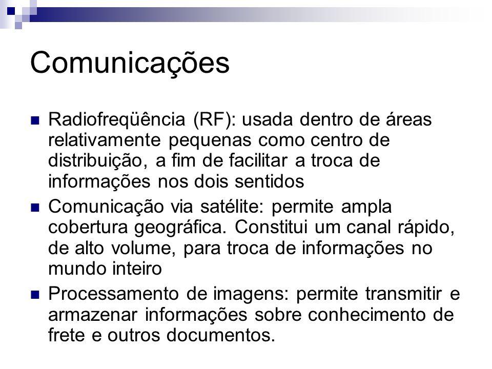 Comunicações Radiofreqüência (RF): usada dentro de áreas relativamente pequenas como centro de distribuição, a fim de facilitar a troca de informações