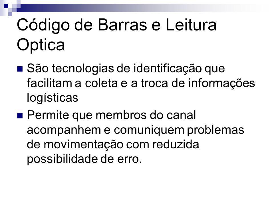 Código de Barras e Leitura Optica São tecnologias de identificação que facilitam a coleta e a troca de informações logísticas Permite que membros do c