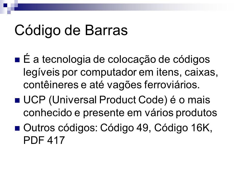 Código de Barras É a tecnologia de colocação de códigos legíveis por computador em itens, caixas, contêineres e até vagões ferroviários. UCP (Universa