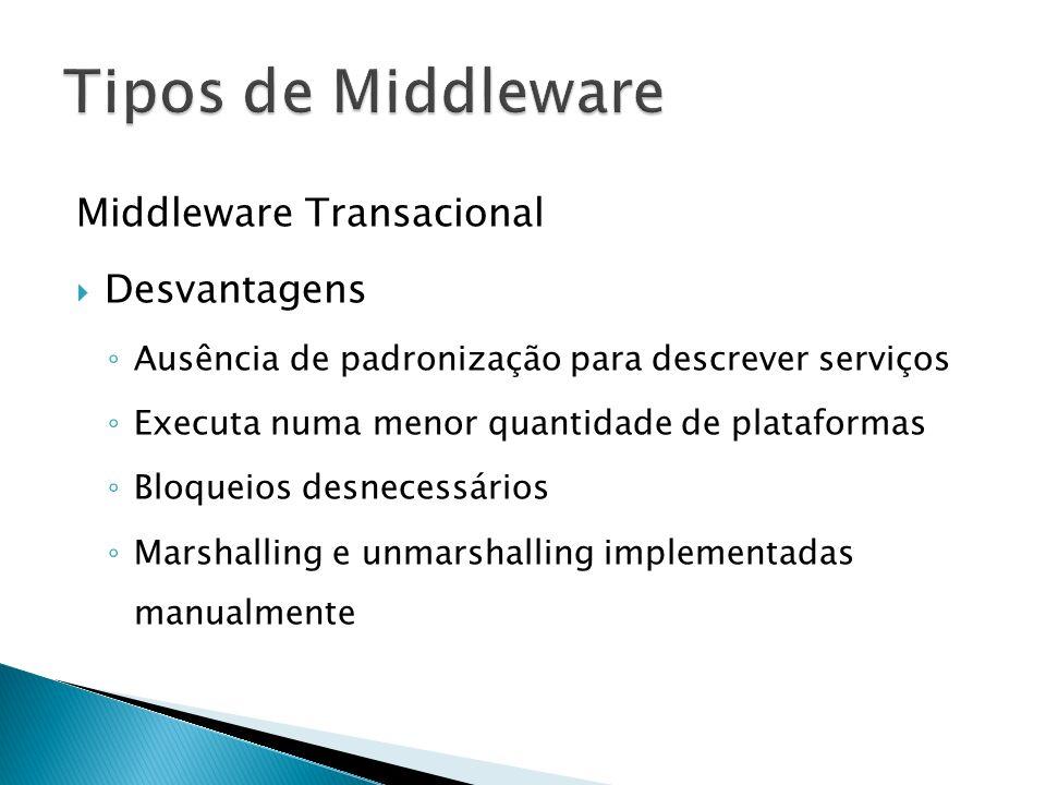 Middleware Transacional Desvantagens Ausência de padronização para descrever serviços Executa numa menor quantidade de plataformas Bloqueios desnecessários Marshalling e unmarshalling implementadas manualmente