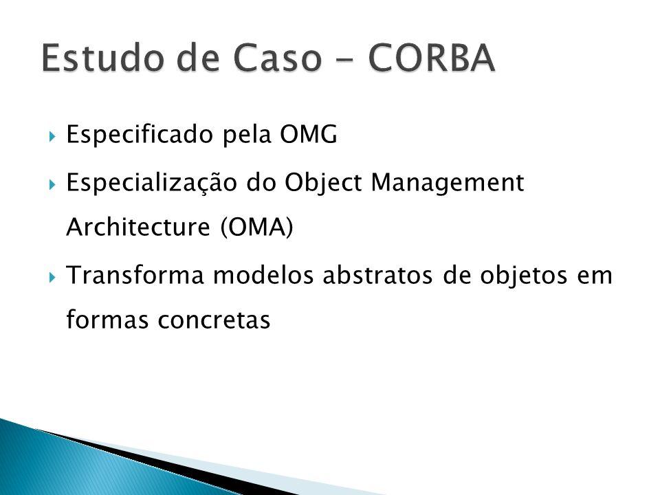 Especificado pela OMG Especialização do Object Management Architecture (OMA) Transforma modelos abstratos de objetos em formas concretas
