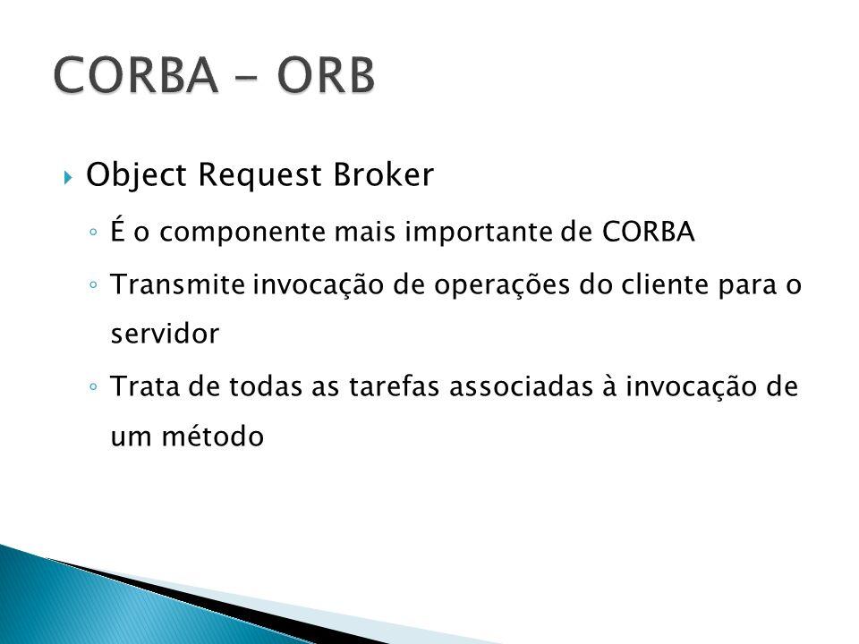 Object Request Broker É o componente mais importante de CORBA Transmite invocação de operações do cliente para o servidor Trata de todas as tarefas as