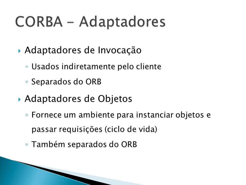 Adaptadores de Invocação Usados indiretamente pelo cliente Separados do ORB Adaptadores de Objetos Fornece um ambiente para instanciar objetos e passar requisições (ciclo de vida) Também separados do ORB