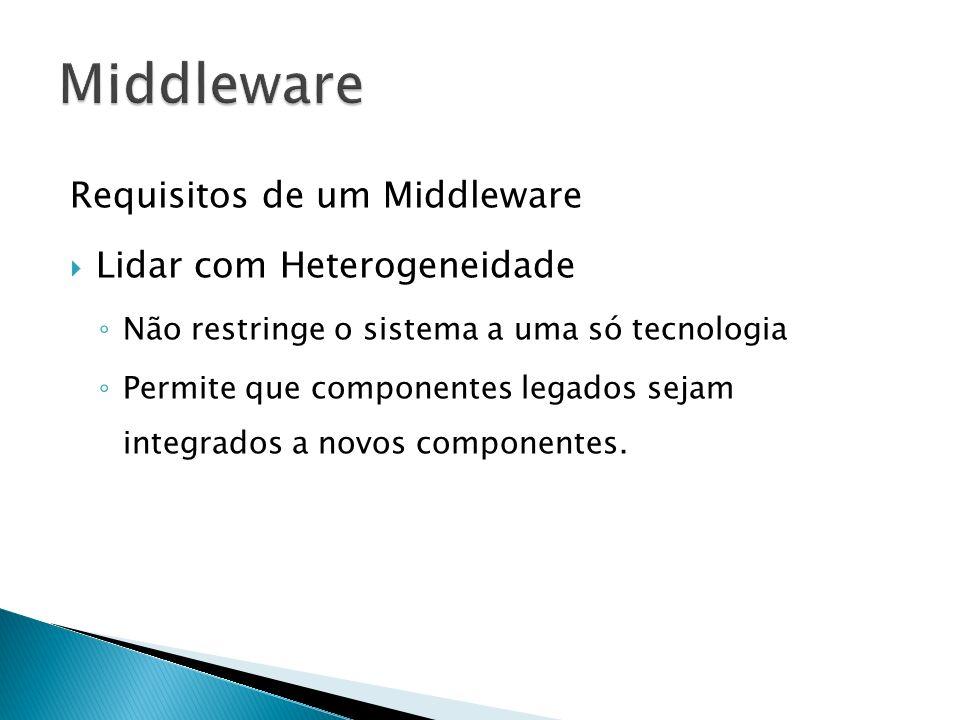 Requisitos de um Middleware Lidar com Heterogeneidade Não restringe o sistema a uma só tecnologia Permite que componentes legados sejam integrados a novos componentes.